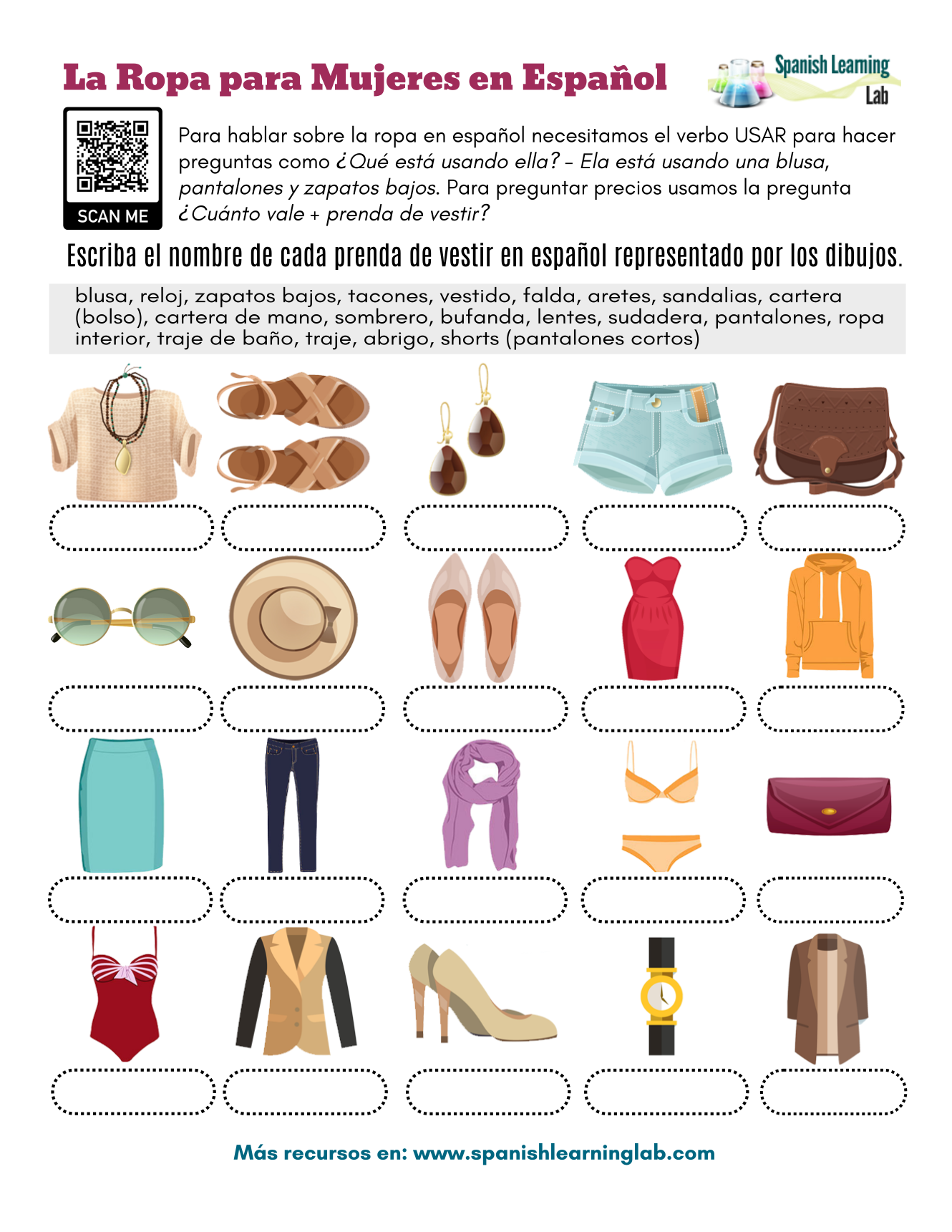 Women S Clothes In Spanish Pdf Worksheet Spanishlearninglab