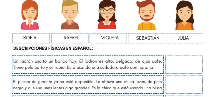 identifying people in Spanish PDF Worksheet physical descriptions identificando personas en español