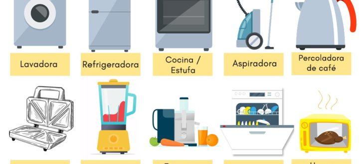 kitchen appliances in Spanish vocabulary los electrodomésticos en español vocabulario