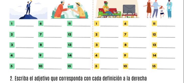 personality adjectives in Spanish vocabulary pdf worksheet adjetivos de personalidad en español ejercicios