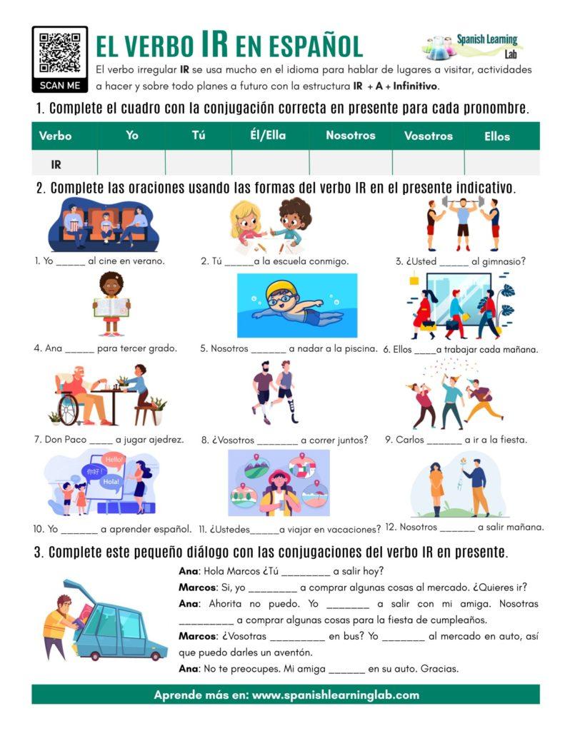 el verbo IR en español ejercicios the verb IR in Spanish PDF worksheet