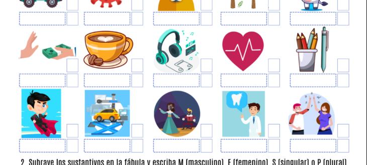 genero y numero de los sustantivos ejercicios Spanish nouns gender and number pdf worksheet