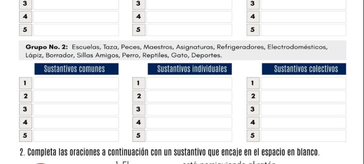 los sustantivos en español ejercicios spanish nouns pdf worksheet