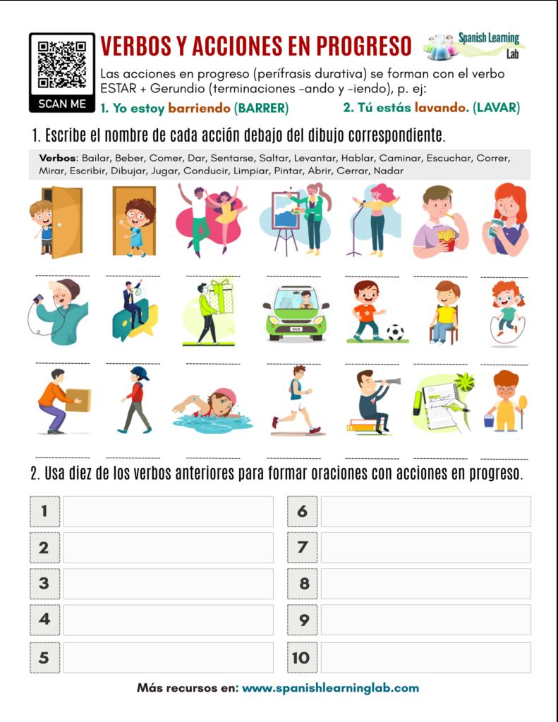 verbos y acciones en progreso en español action verbs in Spanish pdf worksheet