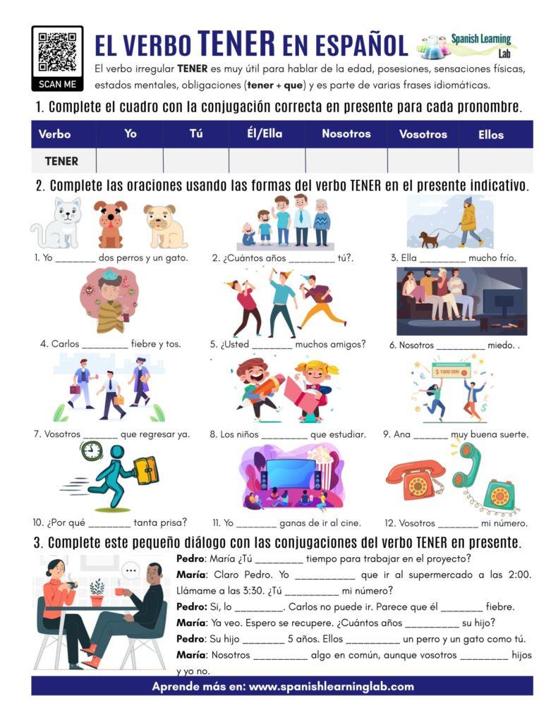 el verbo TENER en español ejercicios the verb TENER PDF Worksheet