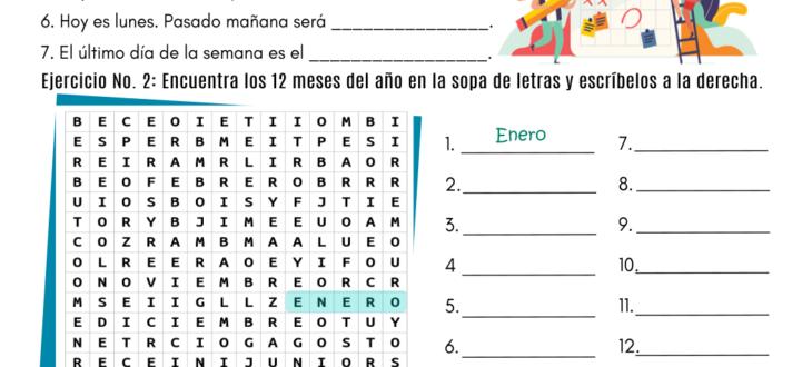 days months Spanish PDF Worksheet los días y meses en español
