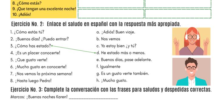 Saludos y despedidas en español ejercicios pdf Spanish greetings and farewells pdf worksheet