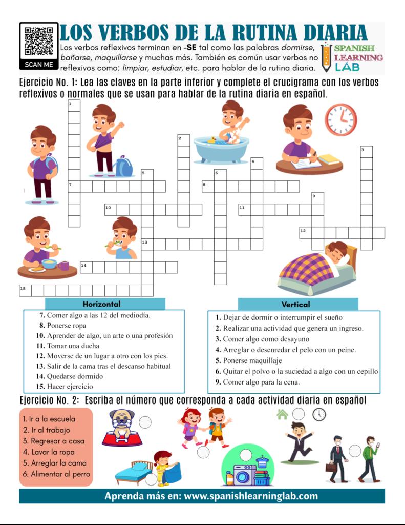 verbos rutina diaria en español ejercicios PDF Spanish daily routine verbs worksheet