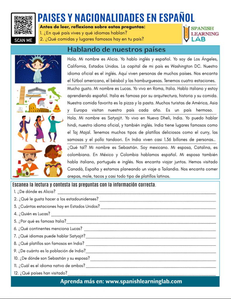 paises y nacionalidades español countries and nationalities reading pdf worksheet