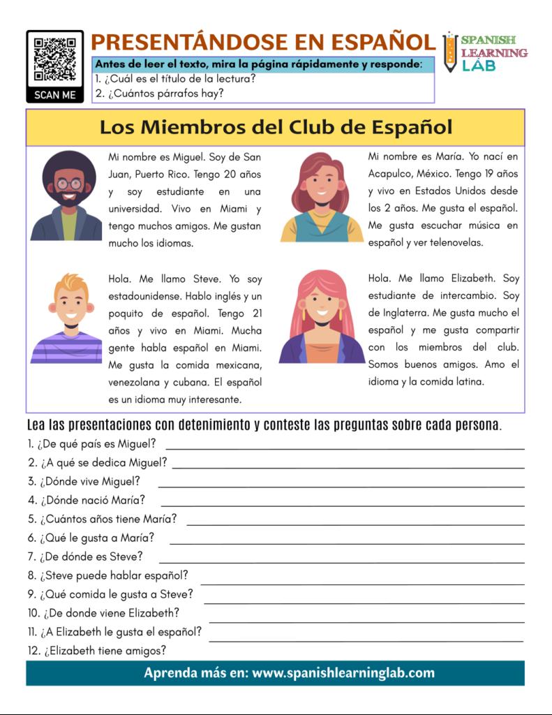 presentandose en español Meeting people in Spanish pdf worksheet