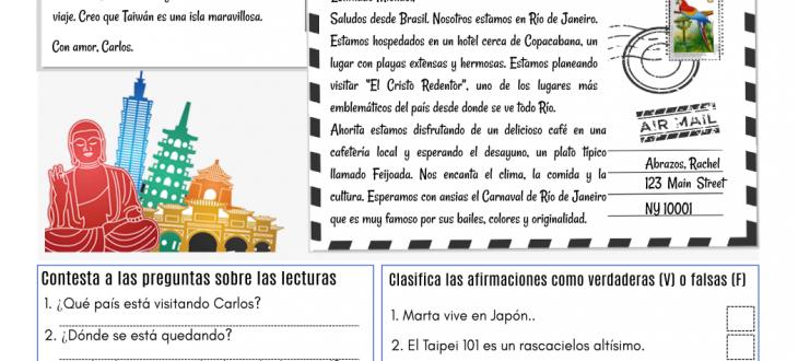 Postales de viajes en español ejercicios lectura travel postcards in Spanish pdf reading worksheet
