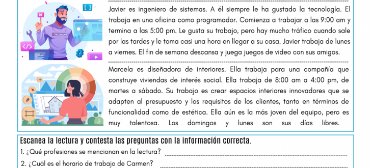 horarios de trabajo en español lectura job schedules in Spanish pdf readin worksheet