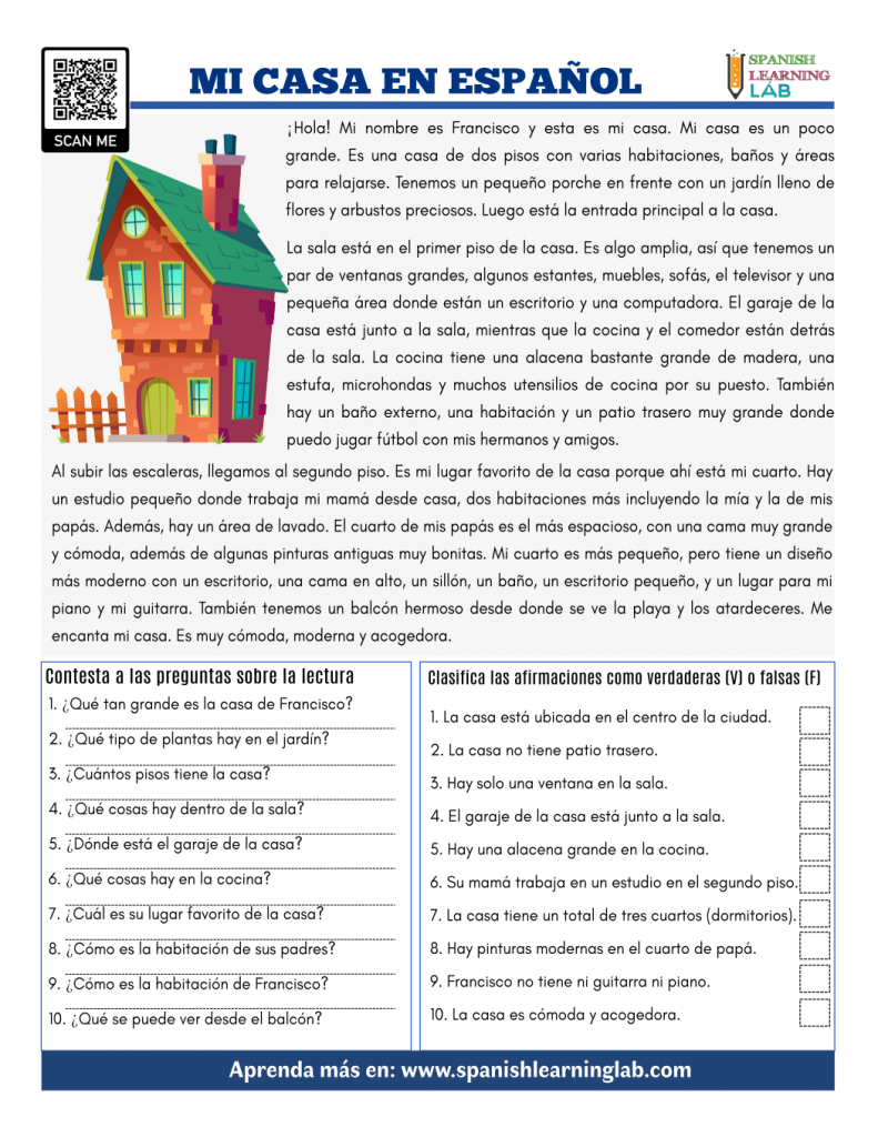 mi casa en español lectura ejercicios this is my house in Spanish pdf reading worksheet