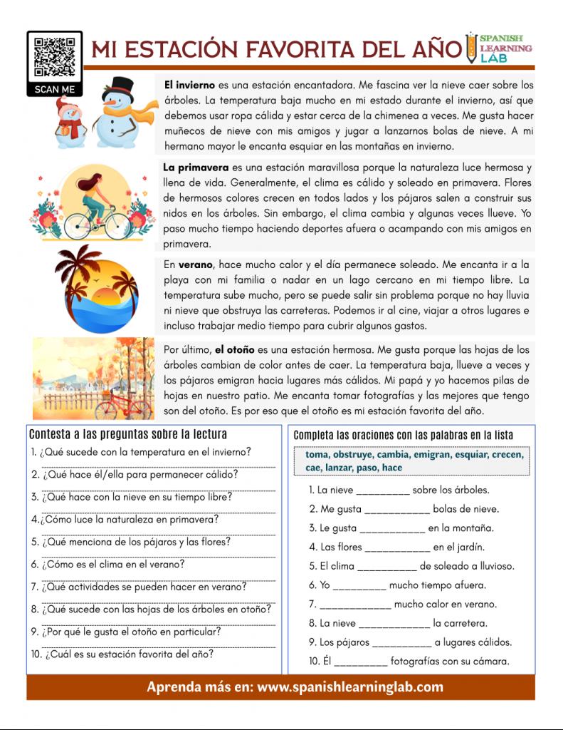 mi estación favorita en español lectura ejercicios my favorite season in Spanish reading pdf worksheet