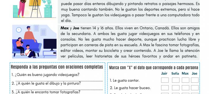 mis pasatiempos favoritos en español ejercicios lectura my favorite pastimes in Spanish PDF reading worksheet