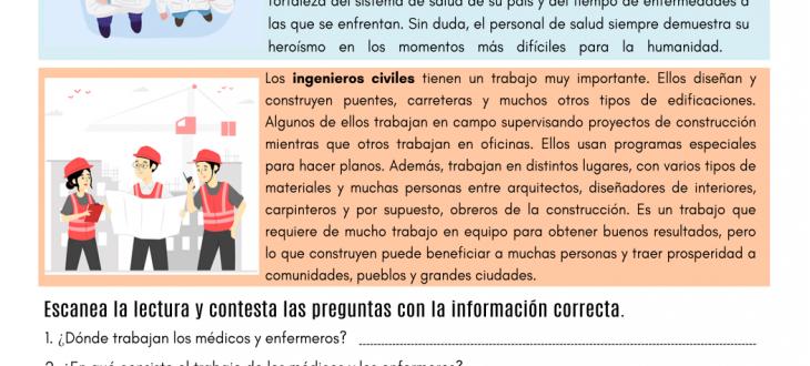 trabajos importantes español lectura important jobs in Spanish pdf reading worksheet