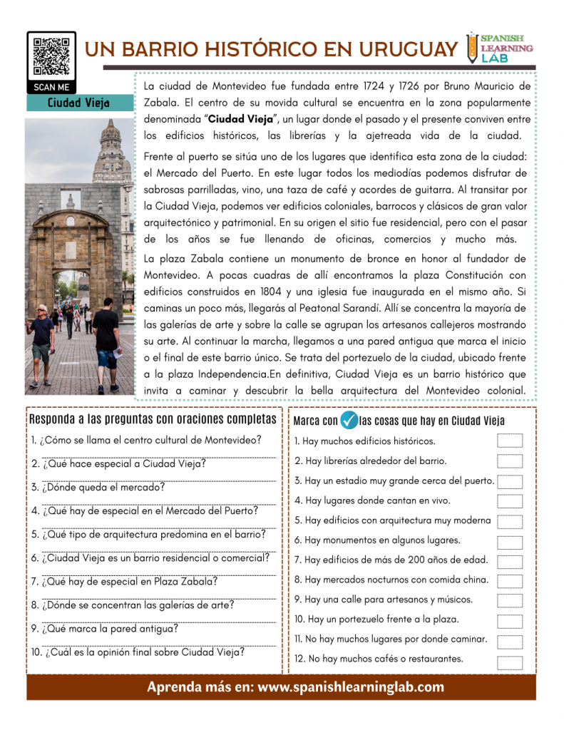 A Historic Neighborhood in Spanish - Reading PDF Worksheet un barrio histórico en español ejercicios lectura